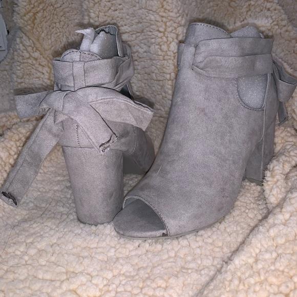 947e8add4 JustFab Shoes | Bowa Tie Back Open Toe Bootie | Poshmark